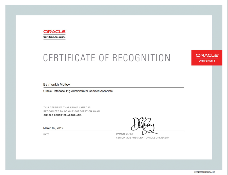 ORACLE CERTIFIED ASSOCIATE