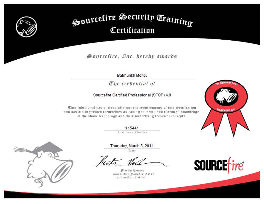 SOURCEFIRE CERTIFIED PROFESSIONAL